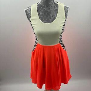 Double Zero | Orange Cream Chevron Dress, Size S